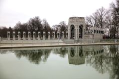 World war 2 memorial with reflecting pool in Washington DC. Beautiful reflections with all the states of united states Royalty Free Stock Photography