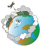 World at war. Vector illustration depicting the Earth with a angry because populated by armies in war Stock Photo