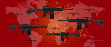 World war arms conflict military gun map plane fight battle aggression. Vector Royalty Free Stock Images