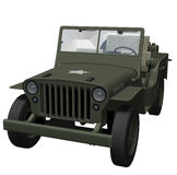 World War 2 Army Jeep. 3d render of a WWII retro military jeep Royalty Free Stock Photography