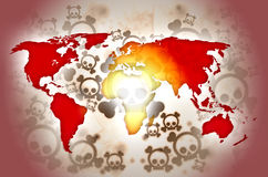 World war background. Red world map on background with skulls Royalty Free Stock Images