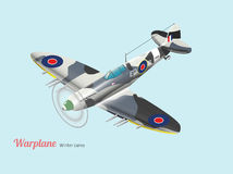 World war British warplane isometric vector in dark blue camouflage Royalty Free Stock Images