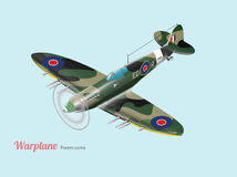 World war British warplane isometric vector in green camouflage Royalty Free Stock Photos