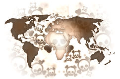 World war brown map. Brown world map on background with skulls Stock Images