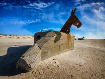 World war 2 bunkers with decoration as sea horses in blaavand a Stock Photos