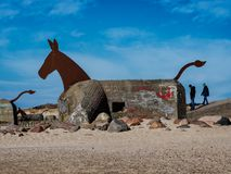 World war 2 bunkers with decoration as sea horses in blaavand a Royalty Free Stock Images