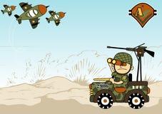 World war cartoon. Military vehicle on battlefield, vector cartoon illustration. EPS 10 Royalty Free Stock Photography