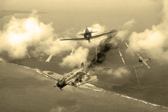 World War 2 dogfight. 'Vintage Style' image of a World War 2 US fighter plane shooting down Japanese torpedeo bomber over Saipan. (Artists Impression Stock Photos