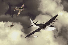 World War 2 Flying boat attacked by fighters Royalty Free Stock Photography