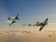 World War 2 German Jet Fighter attacking British illustration Stock Image
