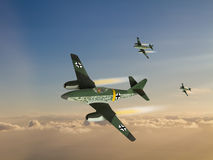 World War 2 German Jet Fighter illustration. World War 2 German Jet Fighter known as the Me-262. Fast fighter at the time it was introduced. (Artist's computer Royalty Free Stock Images