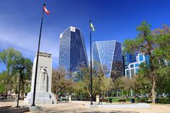 World War I Memorial and Modern Buildings in Downtown Regina, Saskatchewan. The Cenotaph in Regina is located in a small park across from the historic Royal royalty free stock photo