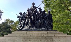 World War I Soldiers, One Hundred Seventh Infantry Memorial, Central Park, New York City, NYC, NY, USA stock image