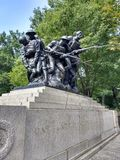 World War I Soldiers, One Hundred Seventh Infantry Memorial, Central Park, New York City, NYC, NY, USA stock photo