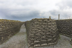 World War I trenches in Flanders, near Diksmuide. Word War I Trenches in Flanders, near Diksmuide, called Dodengang in Dutch and Boyau de la Mort in French Stock Image