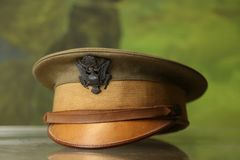 World War I uniform. World War I Army officer`s garrison cap featuring U.S. Shield emblem stock image