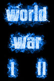 World War Ice Text. World war first and second ice text badges with smoke Stock Image