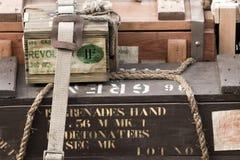 World War II ammo. World War II Ammunition boxes royalty free stock photo