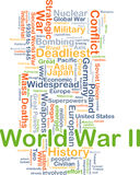 World War II background concept. Background concept wordcloud illustration of World War II Royalty Free Stock Image