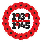 World War II commemorative symbol with dates, poppies Stock Photo