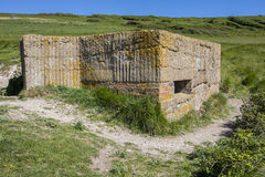 World War II Defences at Cuckmere Haven. A panoramic view showing World War II defences at the estuary in Cuckmere Haven, situated in the Seven Sisters Country Stock Photography