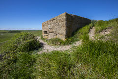 World War II Defences at Cuckmere Haven. A panoramic view showing World War II defences at the estuary in Cuckmere Haven, situated in the Seven Sisters Country Royalty Free Stock Photo