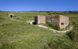 World War II Defences at Cuckmere Haven. A panoramic view showing World War II defences at the estuary in Cuckmere Haven, situated in the Seven Sisters Country Stock Image