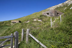 World War II Defences at Cuckmere Haven. A panoramic view showing World War II defences at the estuary in Cuckmere Haven, situated in the Seven Sisters Country Stock Images