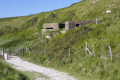World War II Defences in East Sussex, UK. A panoramic view showing World War II defences at the estuary in Cuckmere Haven, situated in the Seven Sisters Country Stock Photos