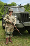 World War II Encampment participant in World War II American Army uniform. OLD BETHPAGE , NEW YORK - MAY 22, 2016: World War II Encampment participant in World Stock Image