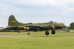 World War II era Boeing B-17 Flying Fortress bomber aircraft `Sally B` G-BEDF. Stock Photography