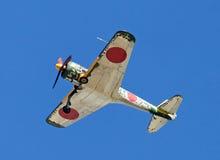 World War II fighter war airplane flying overhead Stock Photos