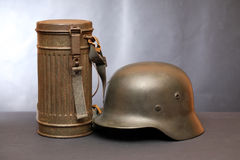 World War II Germany Equipment. World War II Germany soldier equipment. Helmet and respirator case stock photography