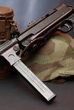 World War II Germany Equipment. World War II Germany soldier equipment. Machinegun MP-38 near helmet and respirator case stock photo