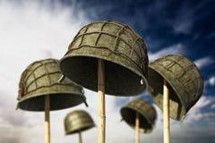 Free World War II Helmets Against Blue Sky. 3D Illustration Royalty Free Stock Image - 131735156