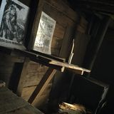 World War II line of defense. Blindage, dugout, funk-hole construction. Defenders, stove, posters, placards, broadsheets, table, burner, candle stock image
