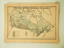 World War II Map of the Principal Natural Resources of Canada. Editorial publication from January 2, 1943 showing the principal natural resources in Canada stock image