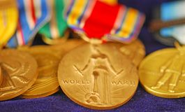 World War II Medals. Colorful array of American veteran's World War II combat ribbons and medals Royalty Free Stock Photography