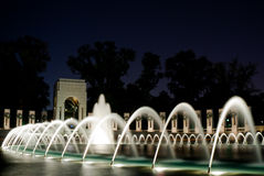 World war II Memorial. The World War II memorial in Washington, it is the fountain in the night with a blue background Stock Photo