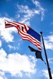 World War II Memorial, american flag at entrance. Washington DC, USA. World War II Memorial, american flag at entrance Washington DC, USA Stock Photos