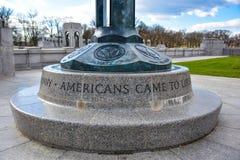 World War II Memorial, american flag at entrance. Washington DC, USA. World War II Memorial, american flag at entrance Washington DC, USA Royalty Free Stock Image