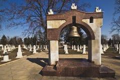 World War II memorial, Chisinau, Moldova. World War II memorial with belltower and graves. A beautiful and symbolic place in Kishinev (Chisinau), Moldova. Photo stock photos