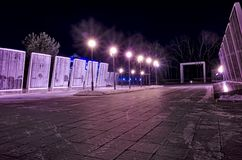 World War II memorial with eternal flame. Tyumen. Tyumen, Russia - January 03, 2018: World War II memorial with eternal flame at night, Memory Square. Siberia Stock Photos