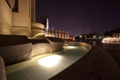 World War II Memorial Fountains at Night. With Washington Monument in Background Royalty Free Stock Photo