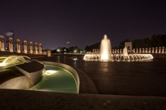 World War II Memorial Fountains at Night Royalty Free Stock Images