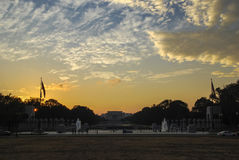 World War II Memorial and Lincoln Memorial on background at sunset Stock Photos