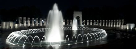 World War II Memorial at Night. View of the World War II Memorial in Washington DC at night Royalty Free Stock Image