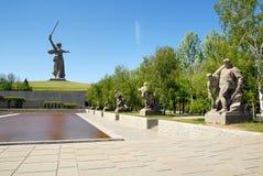 World War II Memorial obelisk on Mamayev Kurgan Stock Photos