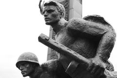 World War II Memorial in Polotsk. Belarus. Black and white Stock Photos