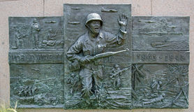 World War II memorial. This is the public World Ward II memorial on state grounds.  At the Oklahoma state Capital Stock Image